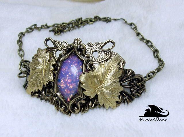 """Изящный красивый браслет """"Дочь Эльфа. Розовый опал"""" Старинный (Винтажный) стиль"""