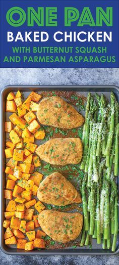 One Pan Baked Chicken with Butternut Squash and Parmesan Asparagus - An easy fool-proof sheet pan dinner! And the chicken comes out so moist and tender!