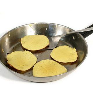 gluten free drop scones cooking in a pan