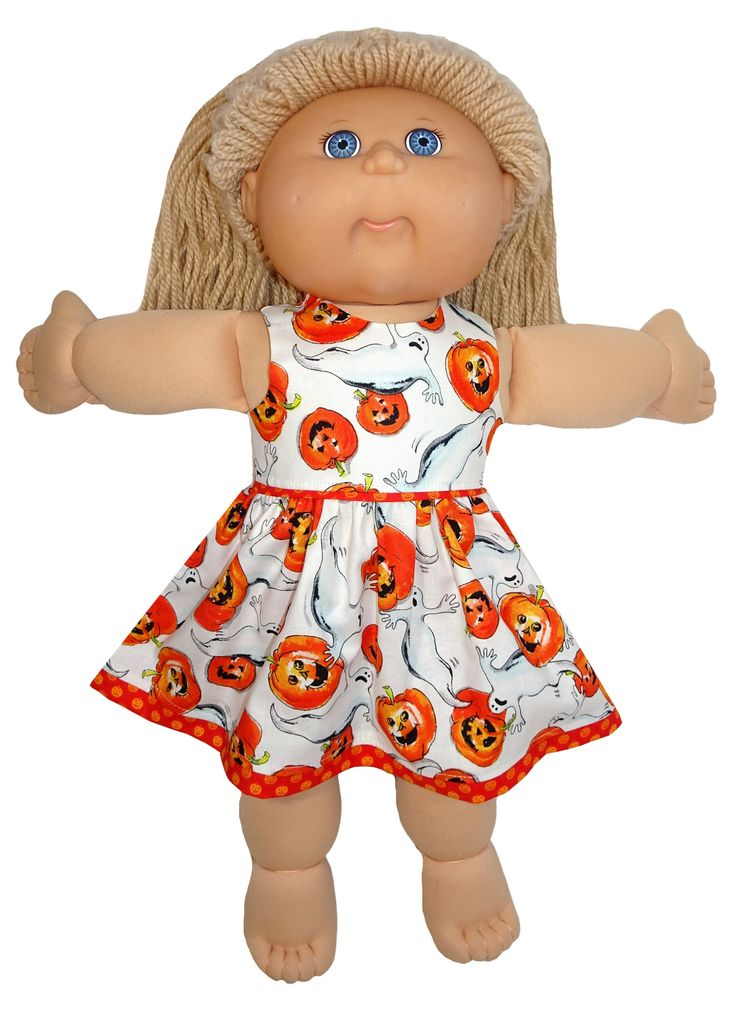 Halloween conjures up images of ghosts and pumpkins and Rosie has been able to combine these things into a cute, rather than scary, Halloween dress for your doll. It is made from cotton and fastens at the back with a Velcro strip.