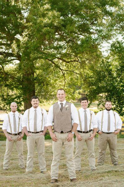 Rustic men's attire idea - tan slacks, tan necktie and suspenders  {Brandy Angel Photography}