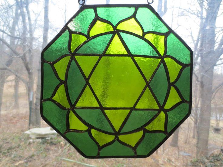 Heart Chakra Reiki Meditation Stained Glass Suncatcher by PerizadCreations on Etsy