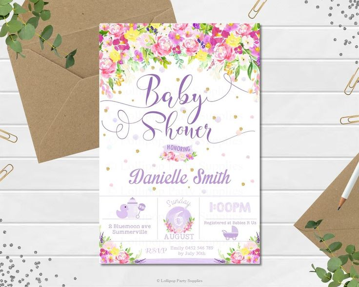 Watercolour Floral Baby Shower Personalised Invitation by Lollipop Party Supplies.