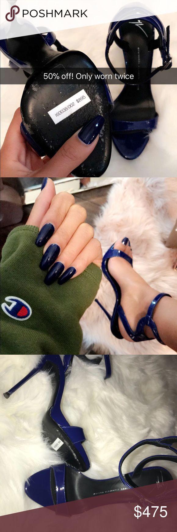 Giuseppe Zanotti Design Giuseppe Zanotti Sculpted Blue Patent Sandals Giuseppe Zanotti Shoes Heels