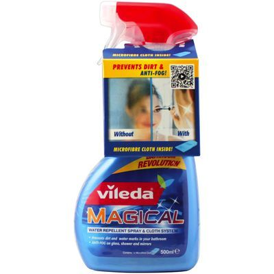 Review of the new Vileda Magical System for mirrors and glass surfaces that no longer fog up, are easier to clean and resistant to water.