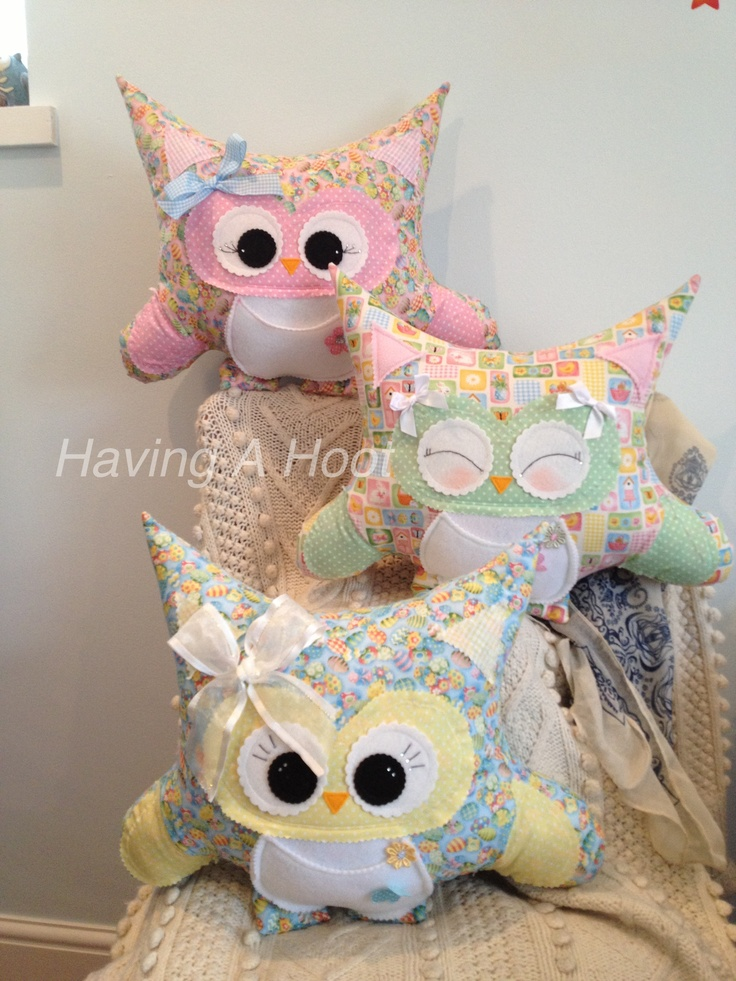 Trio of Easter Hoots  complete with little Pockets just the right size for Easter eggs