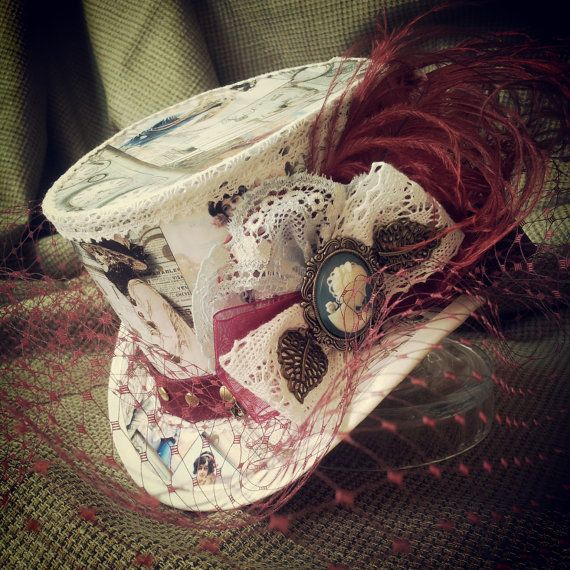 "4"" top hat - Steampunk style, decoupaged bridal hat, decorated with your choice of paper and colours. Birdcage veil included. Burlesque, Rockabilly, Retro, Vintage, Lolita, Tea Party, Victorian, Alternative, Unique, Gothic, scrapbook"