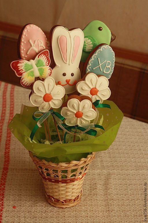 Купить Букет пряничный пасхальный - пряник, Пасха, подарок к Пасхе, подарок на Пасху, букет, пряники