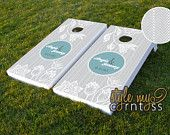 Custom Cornhole Boards // Florals & Chevron w/ Monogram // Custom Wedding Game