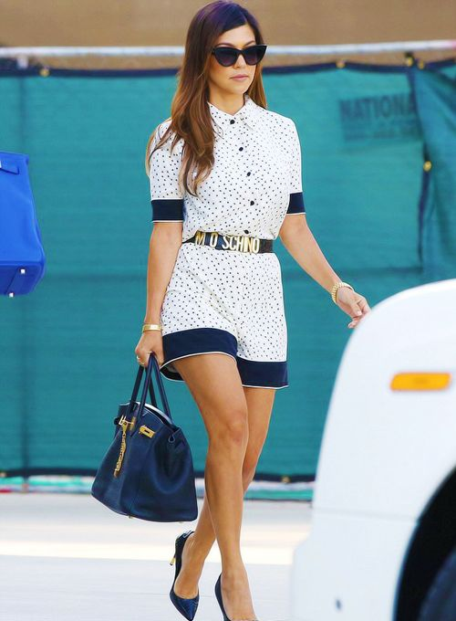 Kourtney Kardashian wears her favourite Moschino logo letter belt