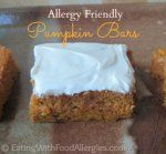 A recipe for pumpkin bars that are dairy, egg, wheat/gluten, peanut and tree nut free.