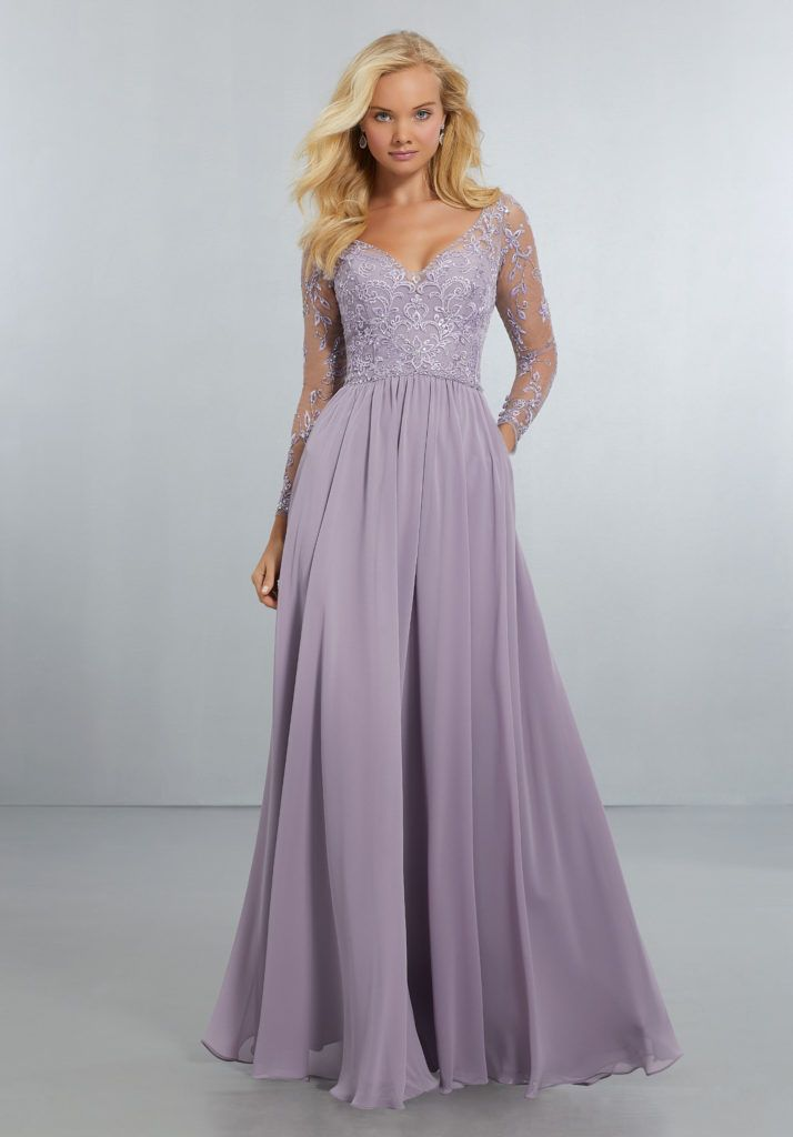 b13d20e63e23c Flowing Chiffon, A-Line Gown with Delicately Beaded Embroidery on Mesh  Bodice with Long