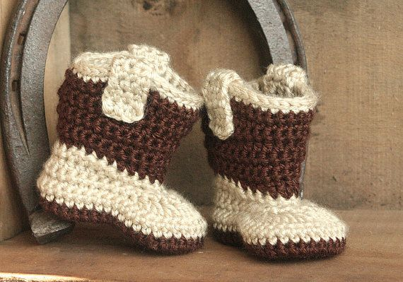 Baby Cowboy Boots - Crochet Cowboy Boots - Baby Boy Boots - Handmade Chocolate Brown Baby Boots - Western Wear Photo Prop - MADE TO ORDER on Etsy, $25.00