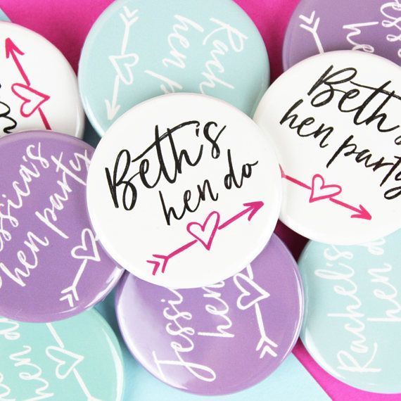 Fun hen party badges perfect for a group of hens celebrating a brides upcoming wedding! Make a hen do unique with these personalised badges for everyone attending. The badges are 38mm wide and made by me on a professional badge press. If you would like something even more bespoke, just get in touch!  The badges are available in 3 colours, black & pink, turquoise and purple. All badges will be the colour you select, unless you choose to have a mixture. Simply select your choice when orderi...