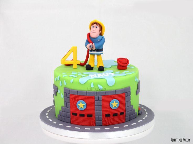 Brandweerman Sam Gefeliciteerd met je 4e verjaardag Naut! #brandweermanSam #fireman #brandweerman #cake #vanillacake #marzipan #marsepein #fondant #vuur #brand #blussen #taart #verjaardag #verjaardagstaart #birthdaycake #happybirthday #firemansam