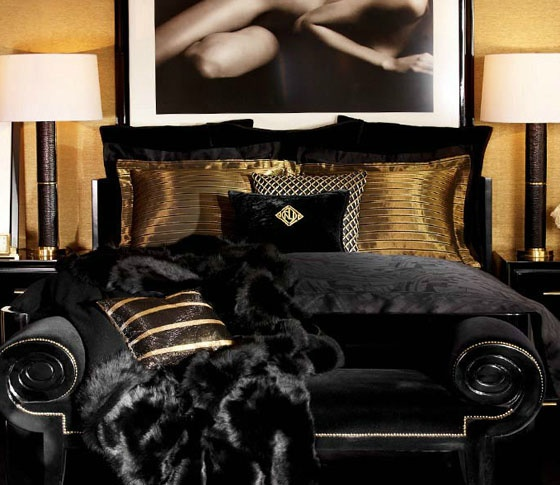 ralph lauren black and gold bedroom