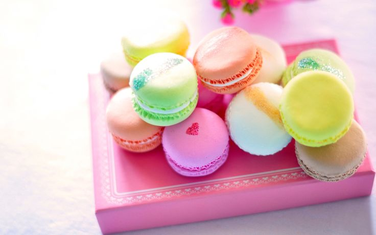 Beautiful Color Macarons Wallpaper Background.