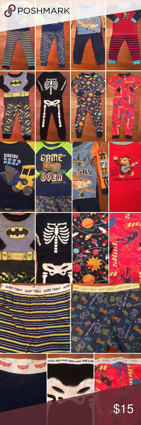 """Baby/Toddler Boy Pajamas Size 24 Months/2T GOOD USED CONDITION • No Stains, Holes, etc. • Fading & Piling (on some sets) • Will add a short-sleeved Lightning McQueen from """"Cars"""" PJ Set (GREAT CONDITION) & a couple pair of PJ pants, if wanted.   1. Only Short-Sleeved Set - Faded Glory Size 24 Months 2. Faded Glory - 24 Months 3. Disney Planes - Size 24 Months 4. Child of Mine by Carter's - Size 24 Months 5. Batman - Size 24 Months 6. Old Navy - 24 Months 7. Children's Place - Size 2  8. Old…"""