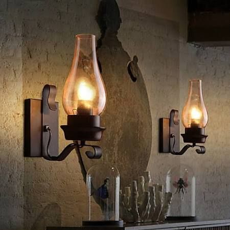 Glass Shade Wall L& Rustic Single light Metal Wall Sconce Chimney style in Home u0026 Garden L&s Lighting u0026 Ceiling Fans Chandeliers u0026 Ceiling Fixtures & Best 25+ Rustic wall lighting ideas on Pinterest | Rustic wall ... azcodes.com
