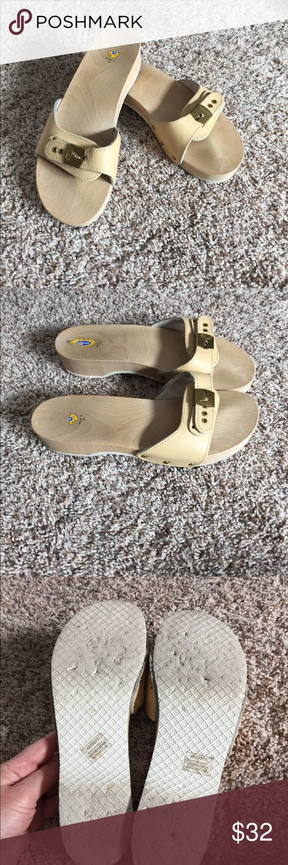 Original wooden Dr. Scholl's sandals Excellent condition, hardly worn original wooden and leather Dr. Scholls sandals.  Gold hardware buckle, adjustable strap. Leather has slight aging, hardly affects looks. Dr. Scholl's Shoes Sandals
