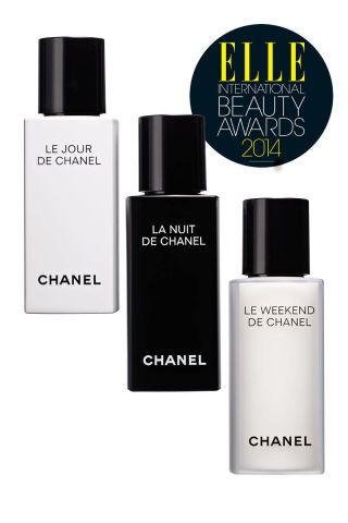 """The skin-care equivalent of a Chanel suit,"" the anti-aging triumvirate of Chanel Le Jour de Chanel, La Nuit de Chanel, and Le Weekend de Chanel is ""simple, chic, and supereffective."" Each lotion targets the face's changing needs throughout the week. Chanel Le Jour de Chanel, $85; chanel.com; La Nuit de Chanel, $85; chanel.com; Le Weekend de Chanel, $115; chanel.com"