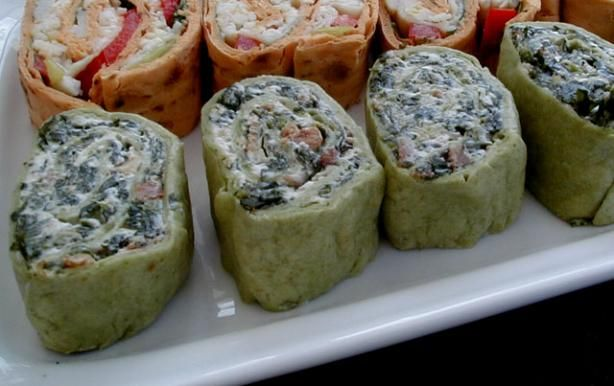 Spinach Pinwheel Appetizers Recipe (frozen spinach, cream cheese, mayo, bacon, envelope ranch dip mix, green onion)