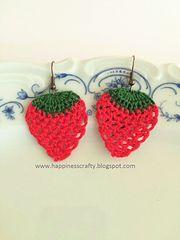 Strawberry Earrings pattern by HappinessCrafty