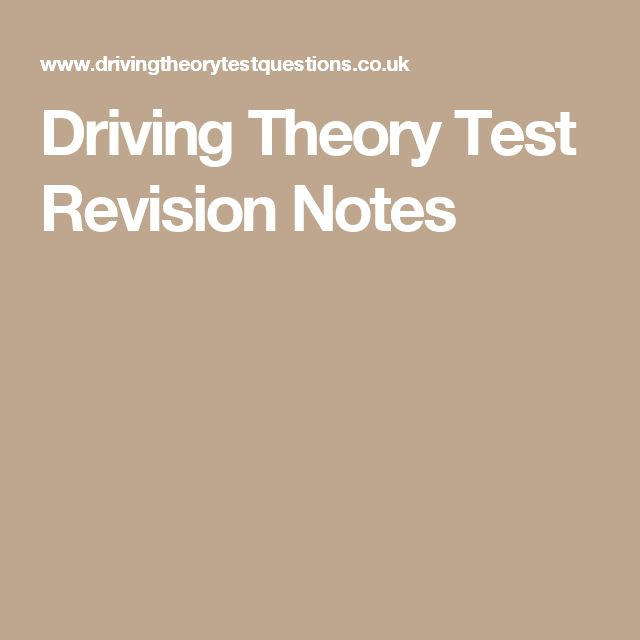Driving Theory Test Revision Notes