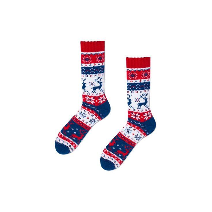 skarpetki / socks Many Mornings Warm Rudolph / świąteczne skarpetki / skandynawskie wzory / scandinavian pattern / made in poland - elska.pl