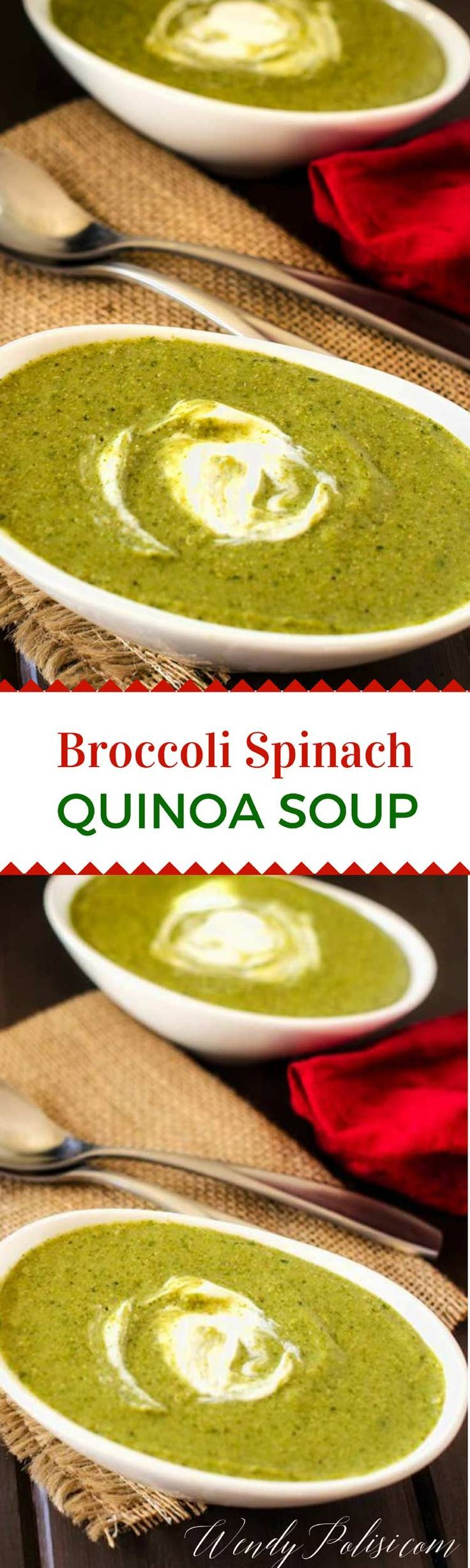 Broccoli Spinach Quinoa Soup -This Broccoli Spinach Quinoa soup is packed with nutrition and so delicious. You can easily make it vegan by substituting Daiya shreds for the cheese. via @wendypolisi