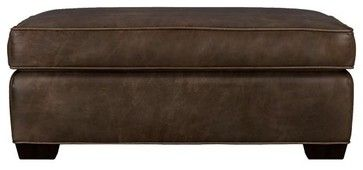 Davis Leather Storage Ottoman - modern - ottomans and cubes - Crate