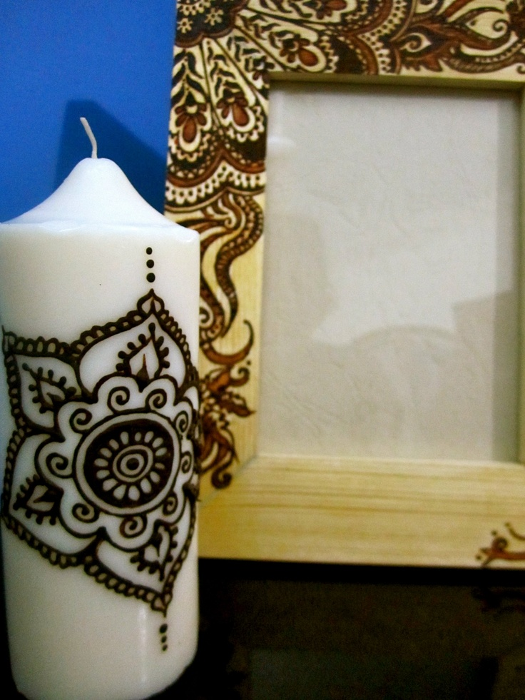 Mehndi Henna Candles : A henna candle and frame by sara s crafts