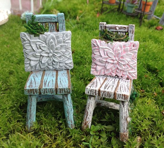 miniature fairy garden shabby chic chair terrarium accessory