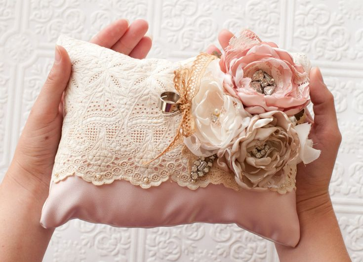 Ring Bearer Pillow, shabby chic romantic wedding ring pillow, champagne and dusty pink. $124.00, via Etsy.