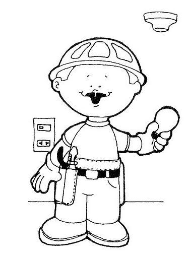 Electricista Dibujalia Dibujos Para Colorear Elementos Y Objetos Del Entorno Persona Oficios Y Profesiones Profesiones Para Ninos Dibujos Para Colorear