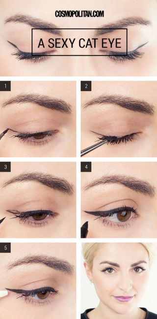 Draw your cat-eye first, and then fill in the open space for a perfect winged liner application every single time.