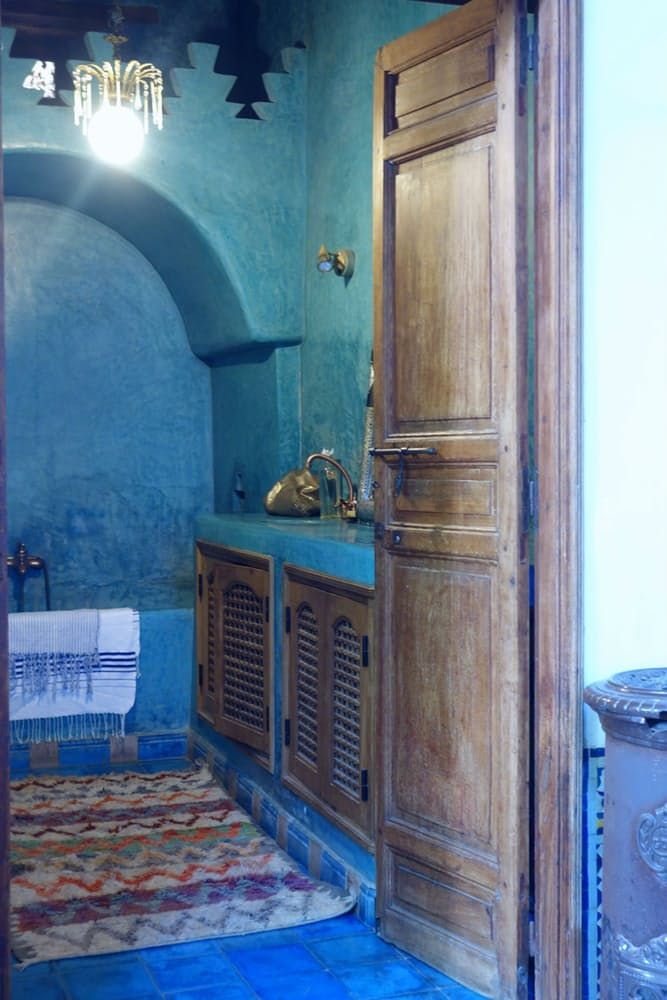 This is the blue bathroom made out of traditional blue tadelakt. Tadelakt is a traditional Moroccan plaster. It has a luxurious, soft, undulating finish, and it is largely used for baths and showers.