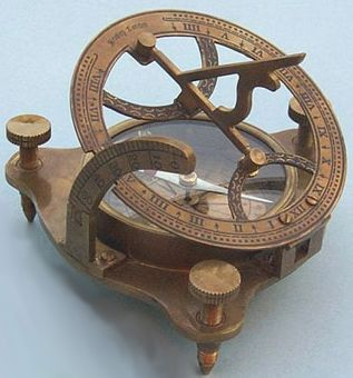 "Antique Patina Brass Sundial/Magnetic Compass w/ Hardwood Case.  $87.91  measures 4.5"" h (2""h when collapsed), the body of the compass is 3"" diameter, and weighs 14 ounces."