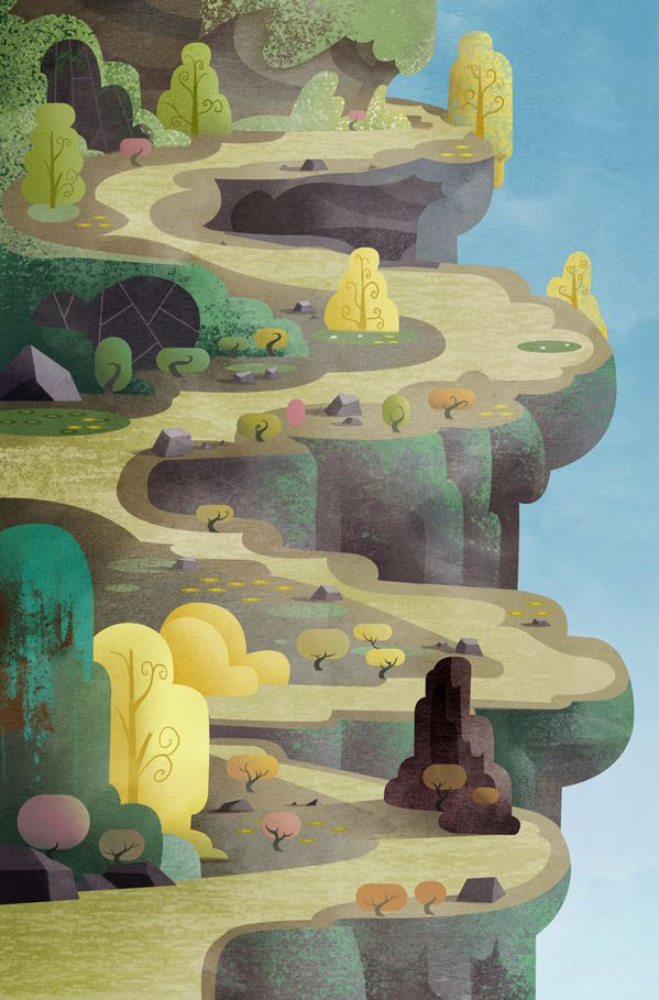 From a kids show Gawayn. collage cliff and path over blue. construction paper crayons for details and tints/shades