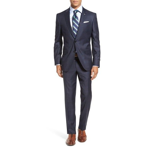 Men's Ted Baker London 'Jay' Trim Fit Plaid Wool Suit (15915915 BYR) ❤ liked on Polyvore featuring men's fashion, men's clothing, men's suits, navy, mens navy suit, mens tartan suit, ted baker mens suits, mens clothing and mens suits