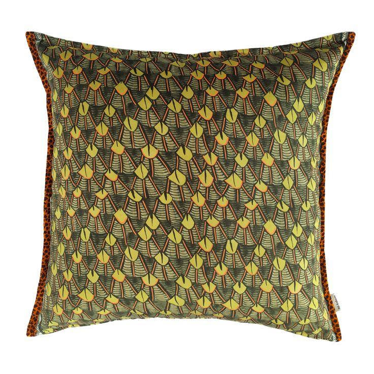 Feather velvet cushion in River Green