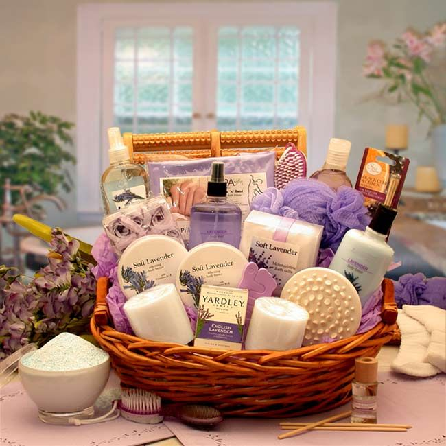 ESSENCE OF LAVENDER SPA  http://basketsformymom.com/  Send her an indulgent spa experience right at home with this exquisite spa gift basket featuring all Lavender products. Lavender offers a calming and soothing spa experience she is sure to appreciate.