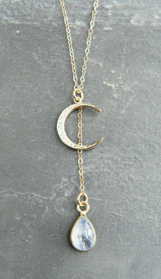 Crescent Moon & Moonstone Pendant | Kattilac #fashionJewelry
