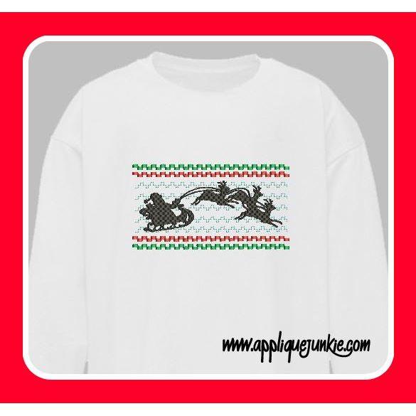 Smocking Designs :: Santa Sleigh Silhouette Smocked Design