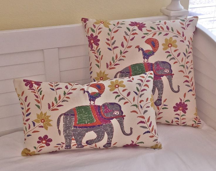 John Robshaw for Duralee - Mahout with Elephant Lumbar Pillow Design - http://www.sewsusiedesigns.com/product/john-robshaw-for-duralee-mahout-with-elephant-lumbar-pillow-design/