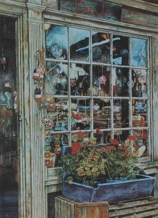Late artist Michael Sorrentino's rendering of the front window of the Quarterdeck, my favorite store in Scituate.  Visit it every time we go to Mass.  Store is now closing!!