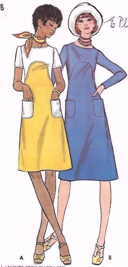 Vintage 1970s Sewing Pattern Butterick 6199 A-Line Dress Dress Uncut 14 Rare…