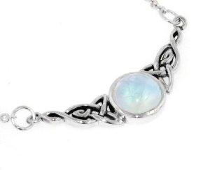 Amazon.com: Sterling Silver Celtic Knot Rainbow Moonstone Adjustable Eternity Necklace: Jewelry