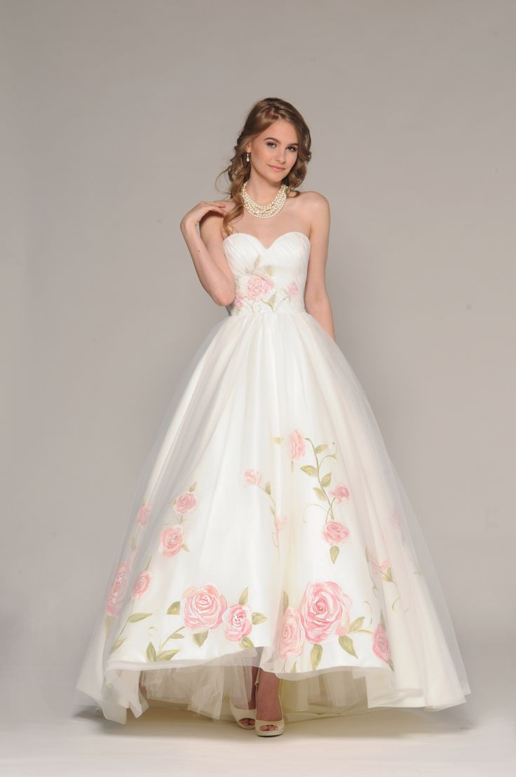 Fall 2016 Eugenia Couture Signature Collection Style # 4026- Rosalia Full Satin high low with delicate, hand painted Rpses over skirt and bodice, oversized hand painted bow at back neckline.