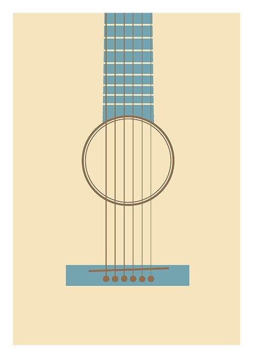 Music poster print guitar print minimalist music guitar for Music minimal art